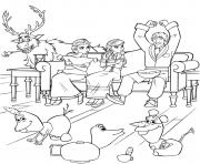 les amis de Elsa Reine des Neiges 2 celebrent sous une ambiance de fete dessin à colorier