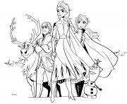 Reine des Neiges 2 avec Olaf Anna Kristoff Sven ready for the winter adventure dessin à colorier