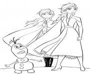 Anna et Elsa et Olaf dessin à colorier