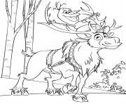 Olaf le bonhomme de neige et Sven le Renne des vrais amis dessin à colorier