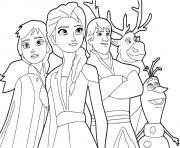 Reine des Neiges 2 avec anna elsa kristoff sven olaf adventure dessin à colorier
