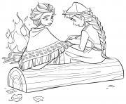 Elsa et Anna pres du peuple autochtone Sami dessin à colorier