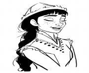 honeymaren reside dans la foret enchantee avec son peuple Northuldra et aide Elsa Reine des Neiges 2 dessin à colorier