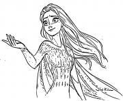 Elsa Reine des Neiges 2 dans la foret enchantee dessin à colorier