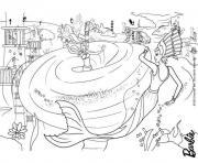 barbie sirene est prise dans une tournade par une mechante sirene dessin à colorier