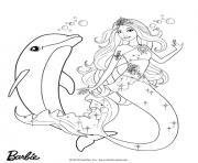 barbie sirene avec son ami dauphin dessin à colorier