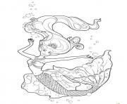 barbie sirene sous la mer avec les animaux dessin à colorier