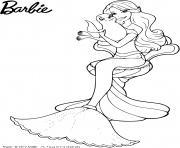 barbie sirene avec un bebe phoque dessin à colorier