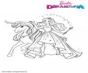 Princesse Barbie et la licorne ailee dessin à colorier