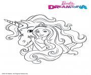 Barbie et la licorne ailee dessin à colorier