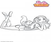 Coloriage Barbie et son chat