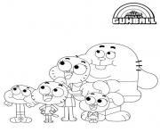 Papa Maman Darwin Gumball et Anais dessin à colorier