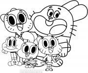 la grande famille de gumball cartoon dessin à colorier