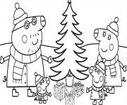 la famille peppa pig autour du sapin de noel dessin à colorier