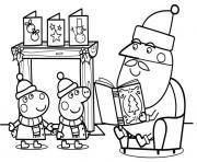 le pere noel peppa pig raconte une histoire de noel dessin à colorier