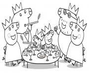 diner de noel de la famille peppa pig pour le 25 decembre dessin à colorier