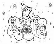 peppa pig hiver vacance de noel dessin à colorier