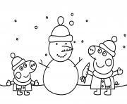peppa pig noel font un bonhomme de neige dessin à colorier