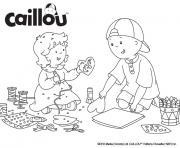 caillou et sa soeur mousseline bricolent pour la saint valentin dessin à colorier