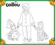caillou le pompier mousseline la princesse et papa le clown pour halloween dessin à colorier