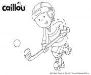 caillou joue au hockey pour la couope stanley dessin à colorier