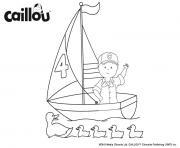 caillou le capitaine du bateau salut les canards dessin à colorier