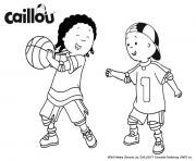 jouer au basket avec caillou et clementine sport dessin à colorier