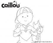 caillou et le chat gilbert avec un coeur pour la saint valentin dessin à colorier