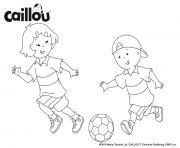 caillou et sarah jouent au foot pour se preparer a lal coupe du monde de la FIFA dessin à colorier