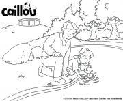 naviguer dans le parc avec un jouet bateau caillou et papi dessin à colorier