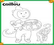 caillou halloween deguise en dinosaure dessin à colorier