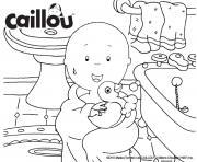 caillou prend son bain avec son canard dessin à colorier