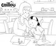 mama et caillou font du bricolage ensemble dessin à colorier