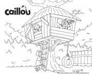 une cabane dans les arbres avec sarah leo caillou et clementine dessin à colorier