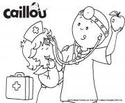 caillou et mousseline jouent au docteur dessin à colorier