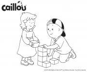 caillou et sa petite soeur jouent au bloc dessin à colorier