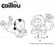 caillou et sarah jouent aux billes dessin à colorier
