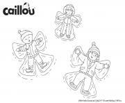 caillou et son ami leo font une etoile sur la neige dessin à colorier