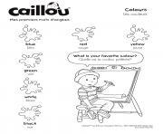 mes premierrs mots en anglais de caillou dessin à colorier