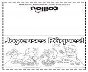carte de souhaits paques caillou dessin à colorier