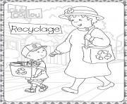 caillou aime recycler avec sa mamie dessin à colorier