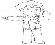 caillou halloween le policier dessin à colorier