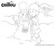 caillou a fait un bonhomme de neige dessin à colorier