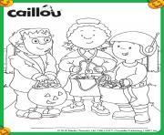 caillou leo et clementine deguise pour halloween dessin à colorier