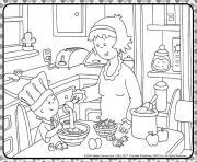 mama et caillou prepare une recette de cuisine dessin à colorier