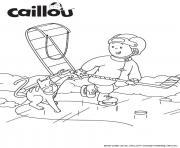 une partie de hockey entre caillou et le chat gilbert qui font du sport dessin à colorier