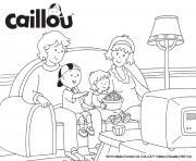 la famille caillou regarde un film a la television dessin à colorier