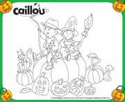 caillou halloween avec mousseline sur une citrouille dessin à colorier