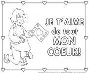 carte de souhaits je taime de tout mon coeur maman de caillou dessin à colorier