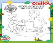 cest amusant de recycler caillou et sa petite soeur mousseline dessin à colorier